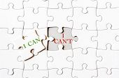 stock photo of cans  - Missing jigsaw puzzle piece with text I CAN covering I CAN - JPG