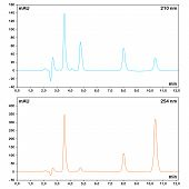 foto of chromatography  - HPLC chromatograms measured at different wavelengths - JPG