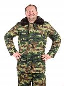 pic of camouflage  - Worker in Camouflage winter jacket with black collar. Isolated on a white background. ** Note: Soft Focus at 100%, best at smaller sizes - JPG