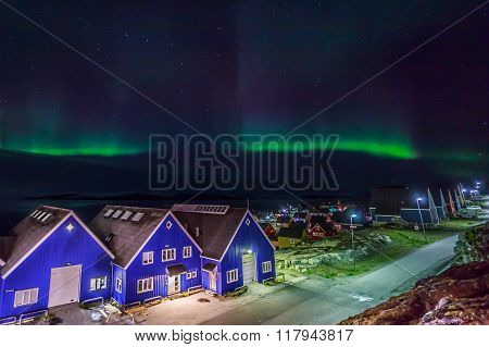 Northern Lights Over Nuuk City