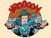 Постер, плакат: Motorcyclist rider biker man