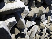 picture of rip-rap  - concrete blocks used in construction of breakwater - JPG