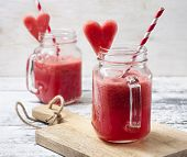 Постер, плакат: Fresh Watermelon Smoothie In A Mason Jar