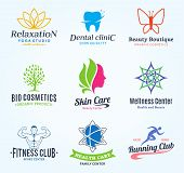 Set Of Vector Beauty And Health Logo, Icons And Design Elements poster