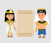Постер, плакат: Egyptian man and a woman holding a papyrus Isolated Egyptian papyrus and characters on a light back