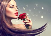 Beauty Fashion Model Woman with red rose flower. Red Lips and Nails. Valentines Day Beautiful Fashi poster