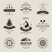 Set of Hunting and Fishing Labels, Badges, Logos Vector Design Elements Vintage Style. Deer Head, Hu poster