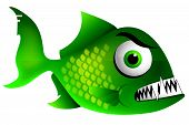 stock photo of piranha  - Mean Green Piranha character illustration with sharp teeth - JPG