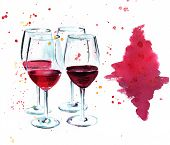 ������, ������: Watercolor Drawing Of Four Wine Glasses On Wine Tasting