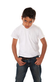 stock photo of spoiled brat  - Angry youngster in t - JPG