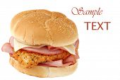 Chicken cordon bleu sandwich  - breaded and seasoned fried chicken breast, baked ham, and swiss chee