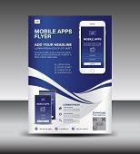 Mobile Apps Flyer Template. Business Brochure Flyer Design Layout. Smartphone Icons Mockup. Applicat poster