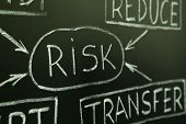 foto of risk  - A close up of a risk management flow chart on a blackboard - JPG