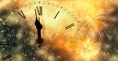 new Years at midnight - clock at twelve oclock with holiday lights and fireworks poster