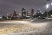 Unusual Snow In Downtown Houston At Night With Snowfall At Eleanor Park poster