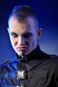 pic of skinhead  - Shot of a gloomy skinhead man - JPG