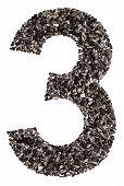 Arabic Numeral 1, One, From Black A Natural Charcoal, Isolated On White Background poster