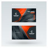 Creative And Clean Double-sided Business Card Vector Template With Abstract Background. Red And Blac poster