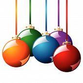 Постер, плакат: Рождественские шары с ленточками