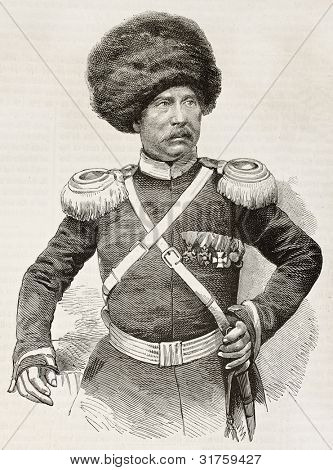 Cossack colonel old engraved portrait