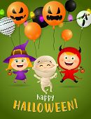 Halloween Party Postcard Design With Dancing Mummy, Funny Witch And Lovely Demon Girl On Green Backg poster