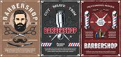 Barbershop Professional Men Hairdresser Salon Vintage Posters. Vector Mustaches Trim, Shave And Hair poster