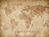 Medieval old world map illustration based on image furnished by NASA poster