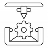 Cogwheel 3d Printing Thin Line Icon. 3d Printing Mechanics Vector Illustration Isolated On White. Ge poster