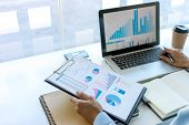 Businessman In Meeting Analysis Chart Graphy poster