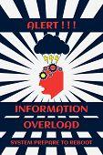 Fun Cyberpunk Poster. Alert!!! Information Overload. System Prepare To Reboot. Over Sunburst Backgro poster