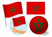 Morocco Flag Icon Set. National Flag Of Morocco Vector Illustration poster