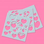 Abstract Generative  Distributed Hearts Holes On A Pink Background. Vector Illustration Suitable For poster