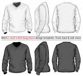 Vector. Men's V-neck long sleeve t-shirt design template (front, back and side view). White & black