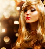 stock photo of hair streaks  - Blond Fashion Girl - JPG