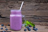 Blueberry Smoothies Purple Colorful Fruit Juice Milkshake Blend Beverage Healthy High Protein The Ta poster