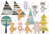 Cute Scandinavian Style Animals And Design Elements. A Set Of Animals In The Scandinavian Style: Bea poster