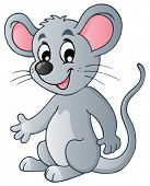 Cute cartoon mouse - vector illustration.