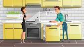 Home Appliances Repair Service Cartoon Vector. Repairman With Screwdriver In Hand, Searching, Checki poster