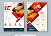 Red Flyer Template Layout Design. Corporate Business Annual Report, Catalog, Magazine, Flyer Mockup. poster