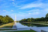 Washington Monument Reflected On The Reflecting Pool In Nation Mall, Washington Dc, Usa. poster
