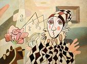 pic of clown rose  - Abstract oil painting of harlequin and rose - JPG