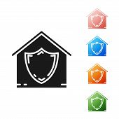 Black House Under Protection Icon Isolated On White Background. Protection, Safety, Security, Protec poster