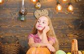Child Little Girl Enjoy Farm Life. Organic Gardening. Harvest Festival Concept. Girl Kid At Farm Mar poster