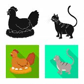 Isolated Object Of Breeding And Kitchen Sign. Collection Of Breeding And Organic Vector Icon For Sto poster
