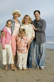 picture of early 50s  - Family Together on Beach - JPG