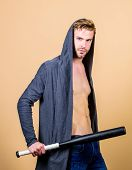 Sportsman Strong Looks Threatening With Bat. Aggression Masculinity Strong Temper. Bully Mood. Bad B poster