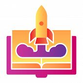 Book And Rocket Flat Icon. Imagination Color Icons In Trendy Flat Style. Education Rocket Gradient S poster