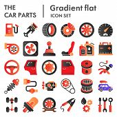 Car Parts Flat Icon Set, Auto Details Symbols Collection, Vector Sketches, Logo Illustrations, Autom poster