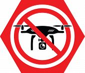 No Drone Allowed Sign. Flights With Drone Prohibited. No Fly Drone Red Sign. Vector Illustration poster