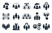 Corporate People Icon. Group Of Persons, Office Teamwork Pictogram And Business Team Silhouette. Bus poster